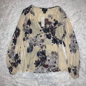 cream & floral francescas v neck blouse sz sm
